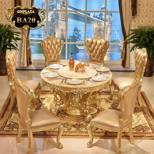 Bộ bàn ghế ăn tròn mặt đá tự nhiên họa tiết gỗ chạm khắc sơn son thếp vàng phong cách tân cổ điển sang trọng kèm 6 ghế BA20