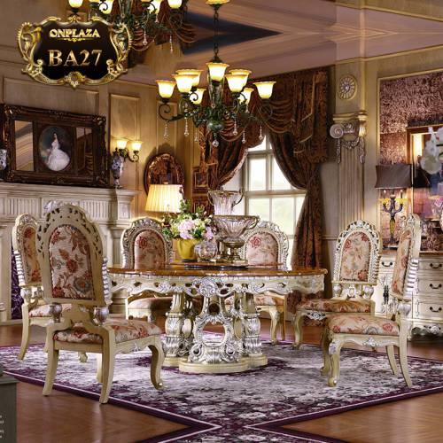 Bộ bàn ghế ăn tròn mặt đá tự nhiên họa tiết gỗ chạm khắc tinh tế phong cách hoàng tộc quý phái 6 ghế BA27