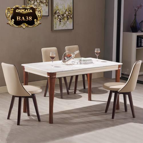 Bộ bàn ghế mặt đá trang nhã chân gỗ tự nhiên phong cách Mỹ hiện đại BA38