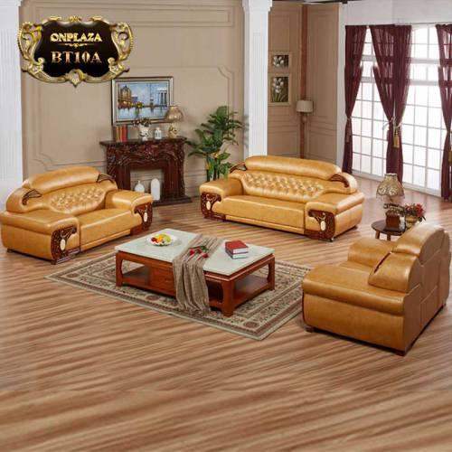 Bộ 3 ghế sofa da cao cấp cho phòng khách sang trọng BT10A