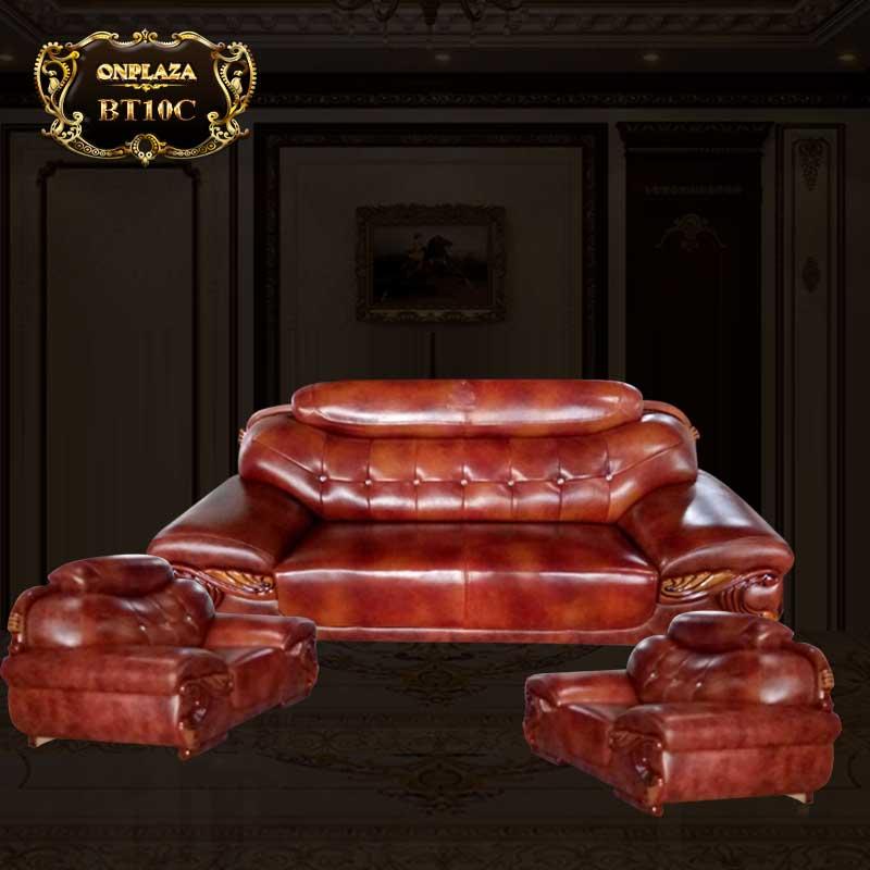 Bộ 3 ghế sofa da cao cấp cho phòng khách sang trọng BT10C
