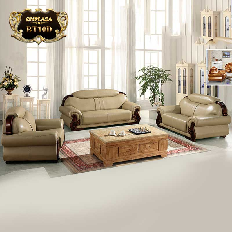 Bộ 3 ghế sofa da cao cấp cho phòng khách sang trọng BT10D mẫu 2