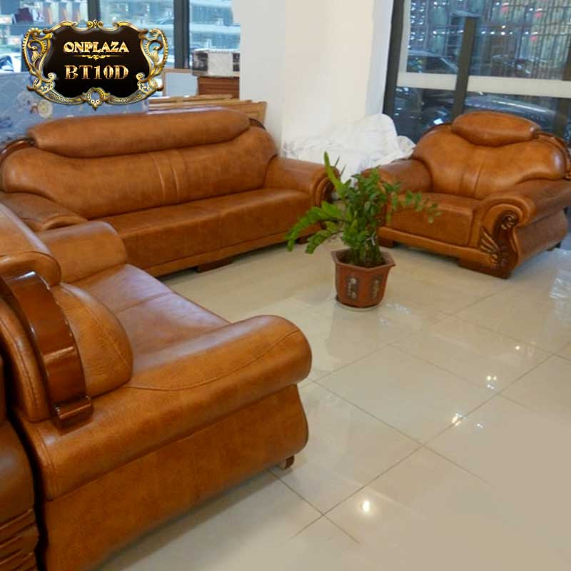 Bộ 3 ghế sofa da cao cấp cho phòng khách sang trọng BT10D mẫu 1