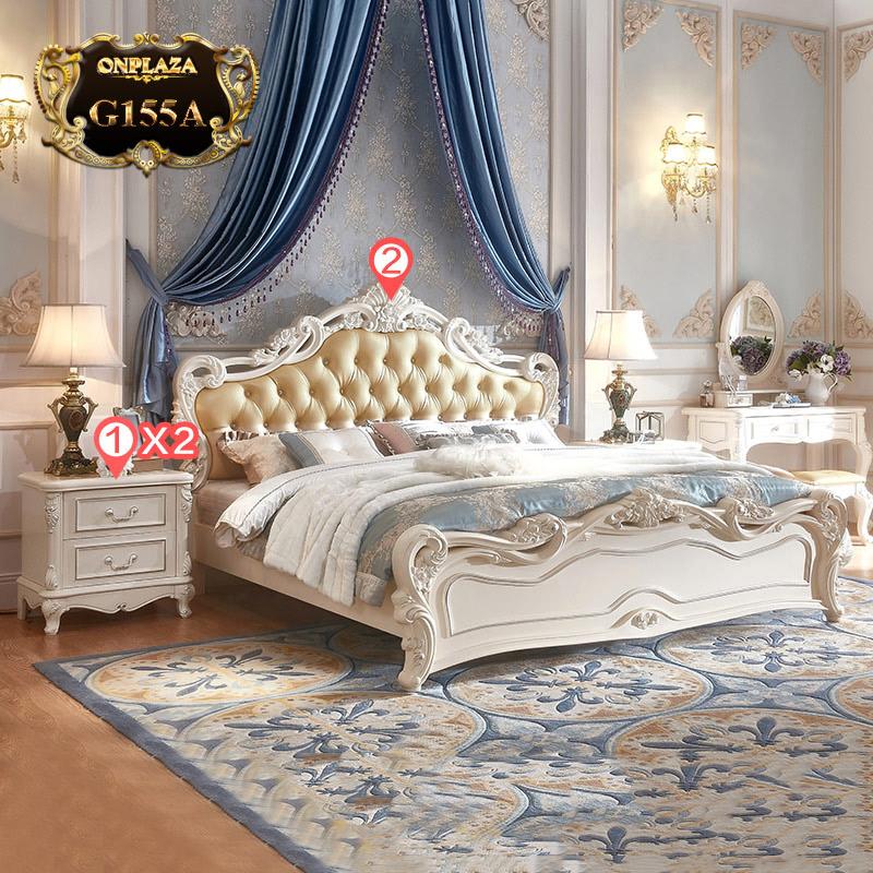 Bộ giường ngủ trang nhã phong cách tân cổ điển Châu Âu sang trọng (dát truyền thống) G155