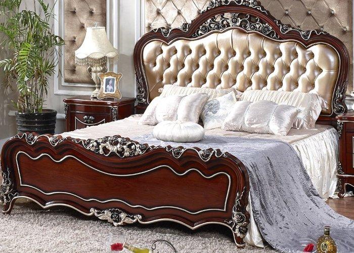 Mẫu giường ngủ châu Âu bọc da đẹp phong cách tân cổ điển