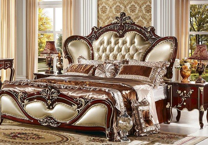Mẫu giường gỗ tân cổ điển bọc da đầu và cuối giường màu nâu đỏ