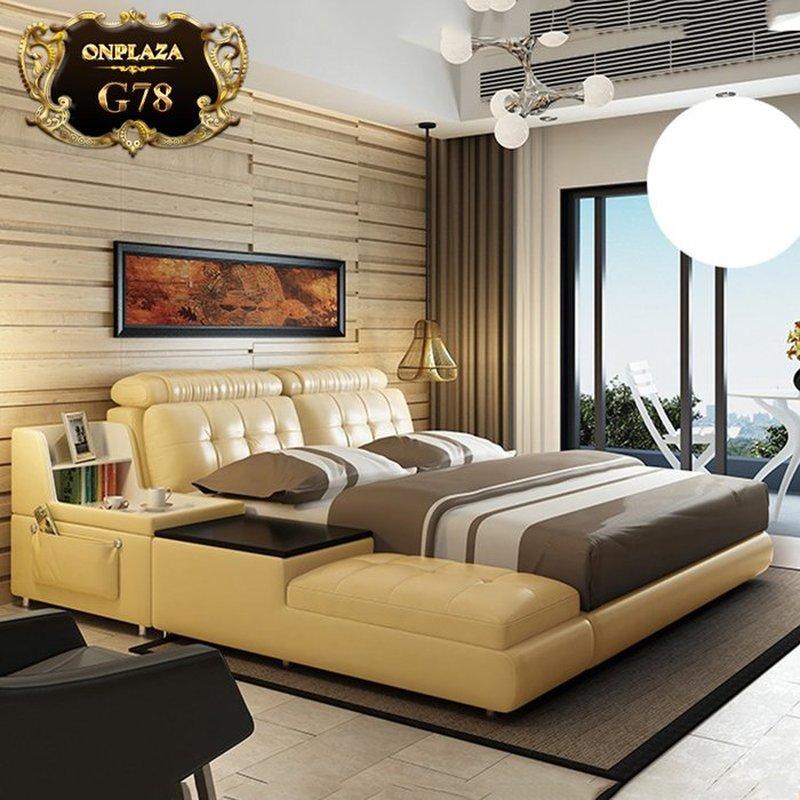 Giường ngủ đa năng có ngăn chứa đồ bọc da G78 màu kem