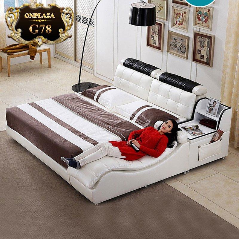 Giường ngủ đa năng có ghế massage G78 màu kem