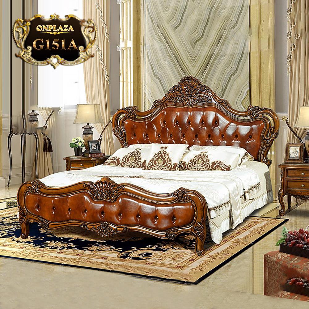 Giường gỗ chạm khắc phối da phong cách Châu Âu cổ điển G151