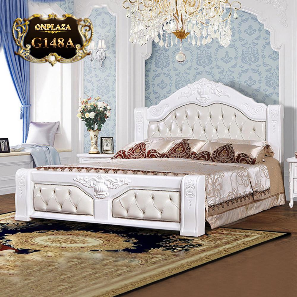 Giường gỗ cổ điển phối da cao cấp G148