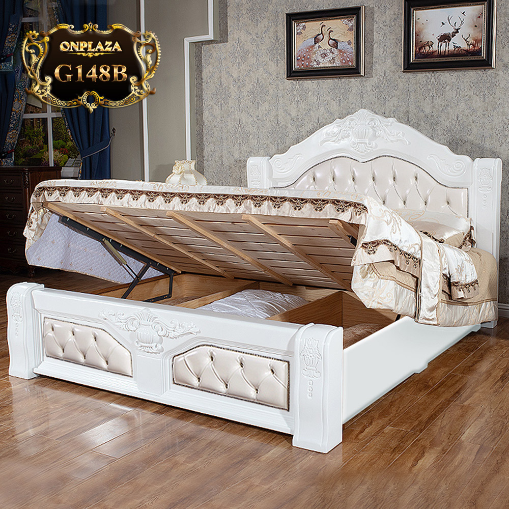 Giường gỗ cổ điển phối da cao cấp G148B