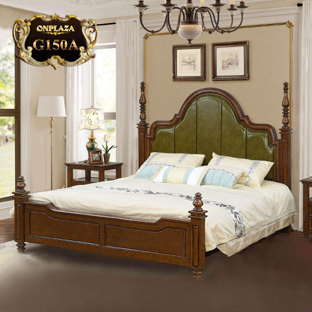 Giường gỗ phối da cao cấp phong cách Mỹ G150