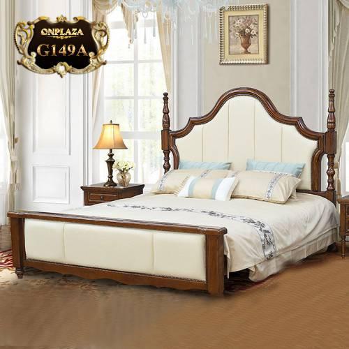 Giường gỗ phối da cao cấp phong cách Mỹ trang nhã G149