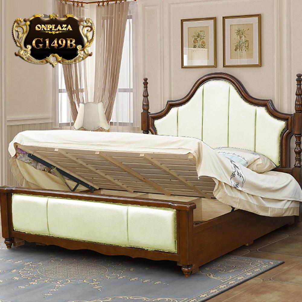 Giường gỗ phối da cao cấp phong cách Mỹ trang nhã G149B