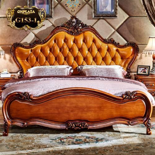 Bộ giường gỗ tự nhiên điêu khắc phối da phong cách tân cổ điển châu Âu sang trọng G153