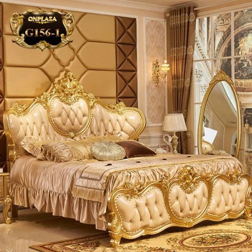 Bộ giường gỗ tự nhiên điêu khắc phối da phong cách hoàng tộc Châu Âu G156