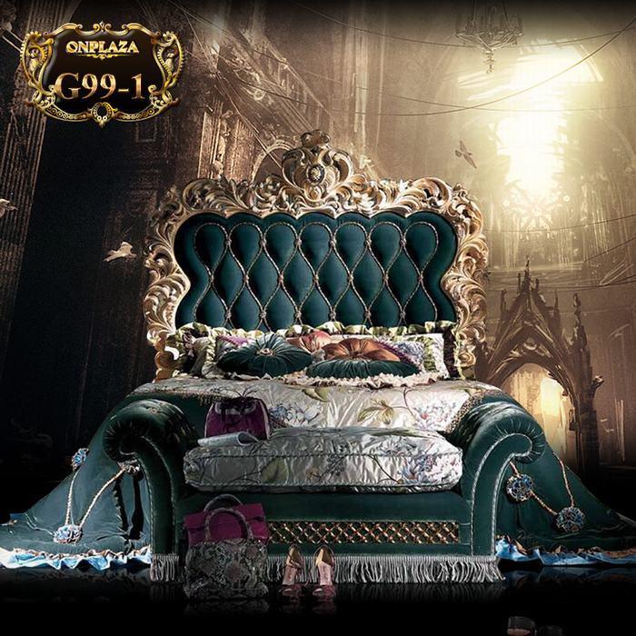 Giường ngủ hoàng gia cao cấp chạm khắc mạ vàng G99
