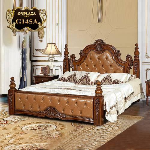 Giường ngủ gỗ điêu khắc phối da phong cách cổ điển sang trọng G145