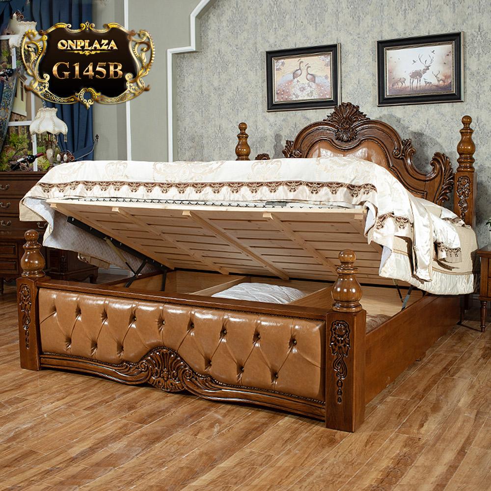 Giường ngủ gỗ điêu khắc phối da phong cách cổ điển sang trọng G145B