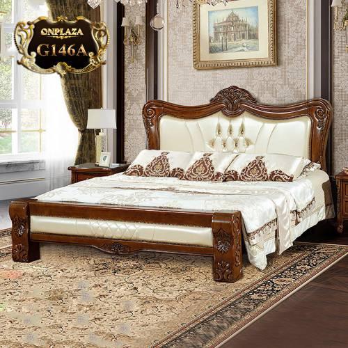 Giường ngủ gỗ phối da cao cấp phong cách tân cổ điển trang nhã G146
