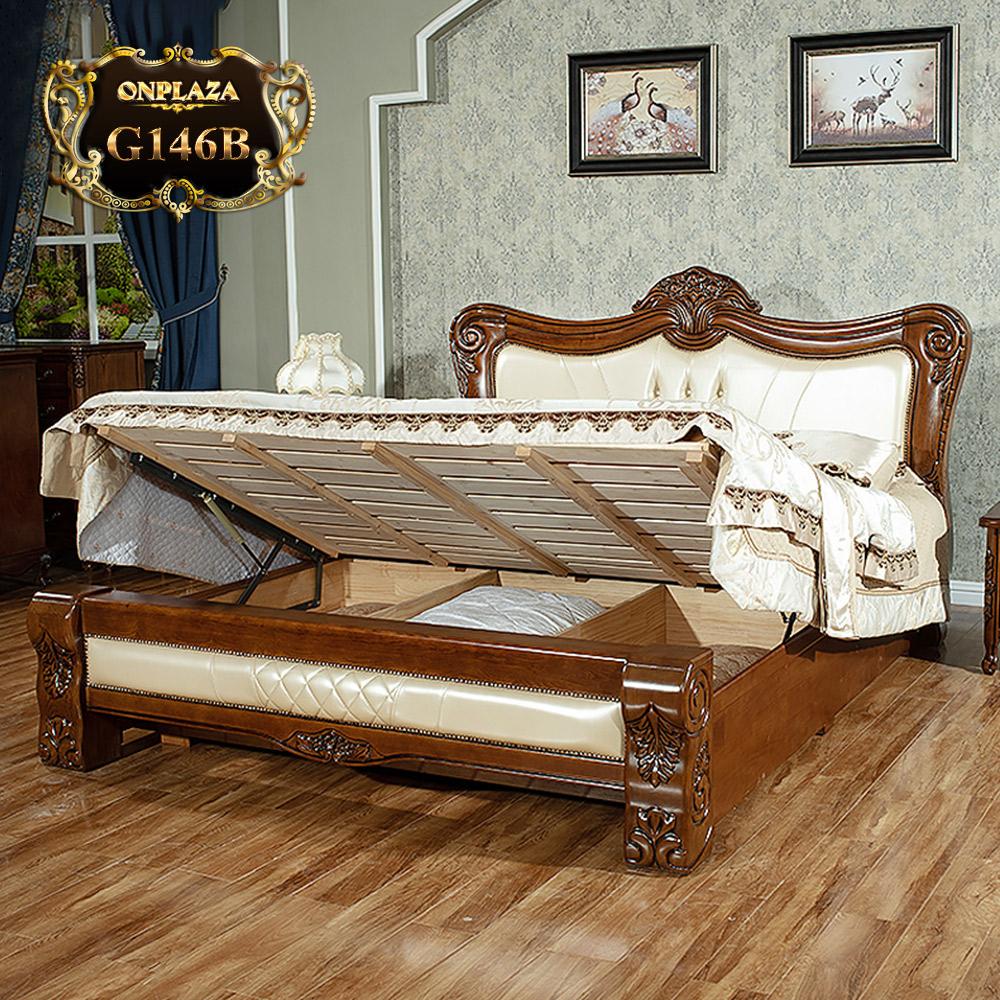 Giường ngủ gỗ phối da cao cấp phong cách tân cổ điển trang nhã G146B