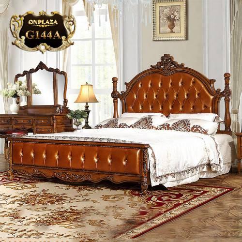 Giường ngủ gỗ phối da cao cấp phong tân cổ điển Châu Âu G144