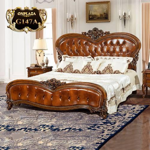 Giường ngủ gỗ phối da cao cấp tạo hình độc đáo sang trọng G147