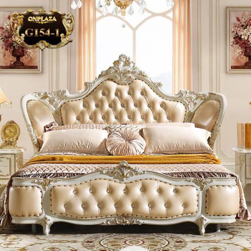 Bộ giường tân cổ điển phối da phong cách Pháp cao quý và lãng mạn G154