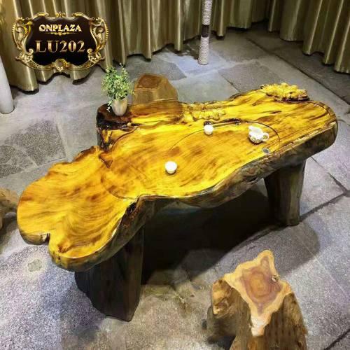 Mặt bàn trà gỗ nu Long não  nguyên khối LU202