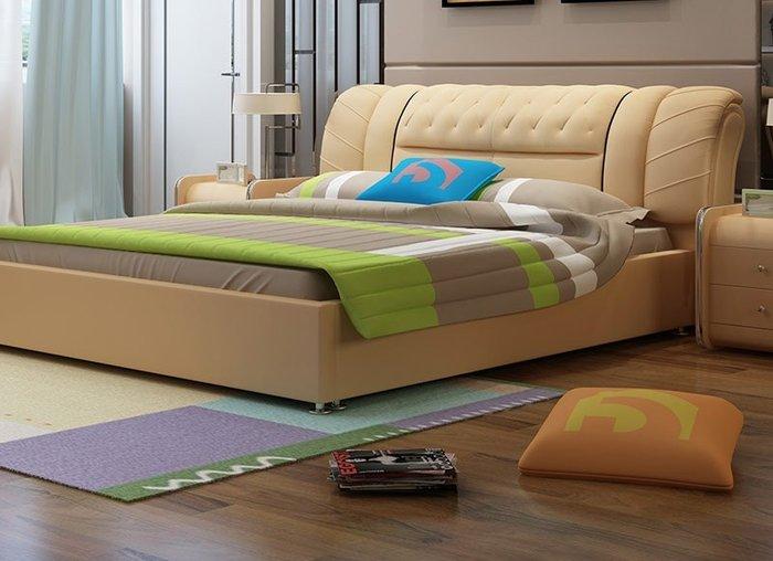 Bộ giường ngủ bọc nệm da nhập khẩu cao cấp (bao gồm 2 táp)