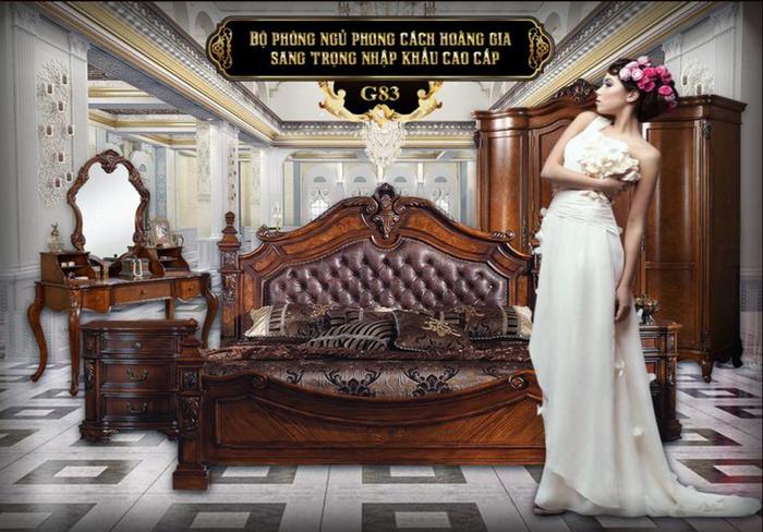 Bộ giường ngủ gỗ tự nhiên nhập khẩu