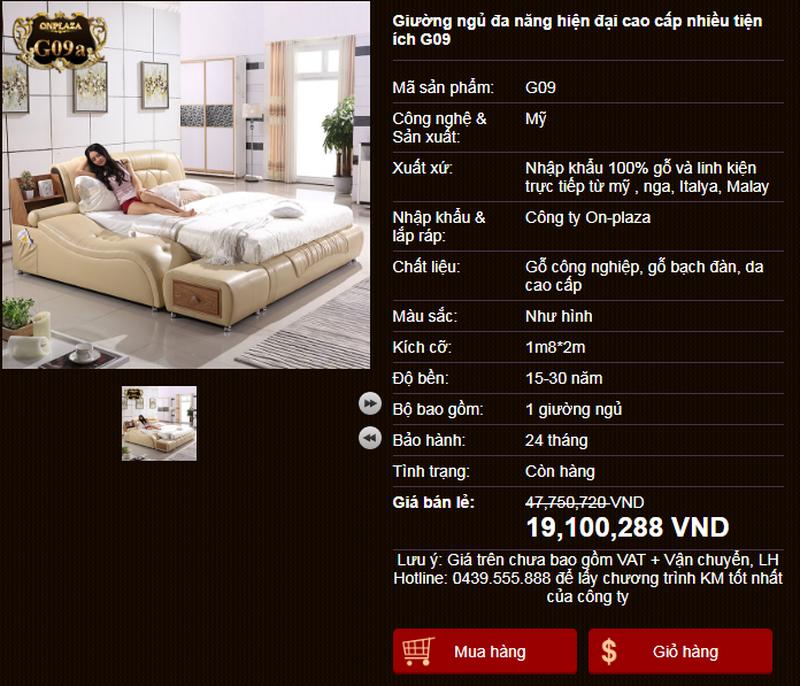 Giường ngủ bọc da hiện đại G09 nhập khẩu