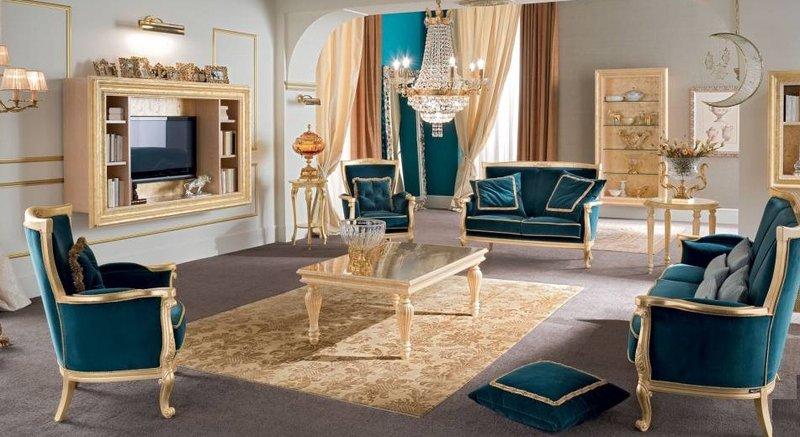 Bộ sofa màu xanh cho phong cách cổ điển hơi hướng hiện đại