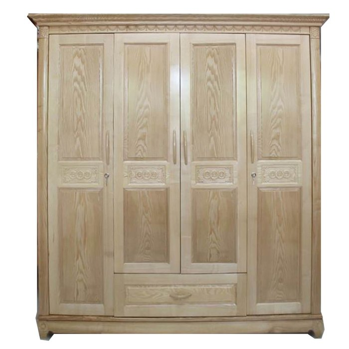 Ảnh 6: Tủ gỗ 4 cánh tiện dụng được làm bằng gỗ thịt rất chắc chắn (Nội thất Phố Vip)