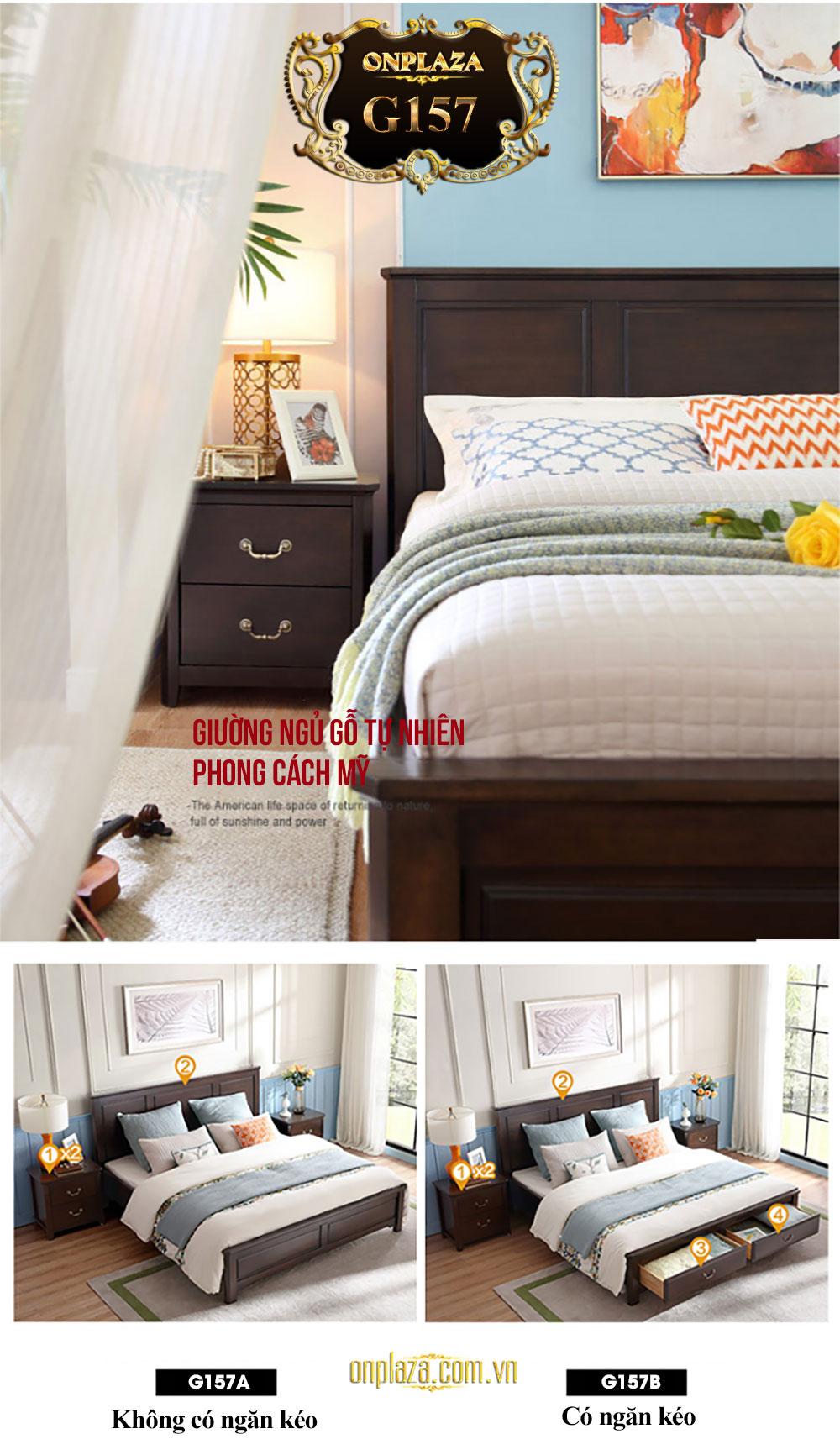 Bộ giường ngủ gỗ tự nhiên phong cách Mỹ hiện đại (loại không có ngăn kéo) G157