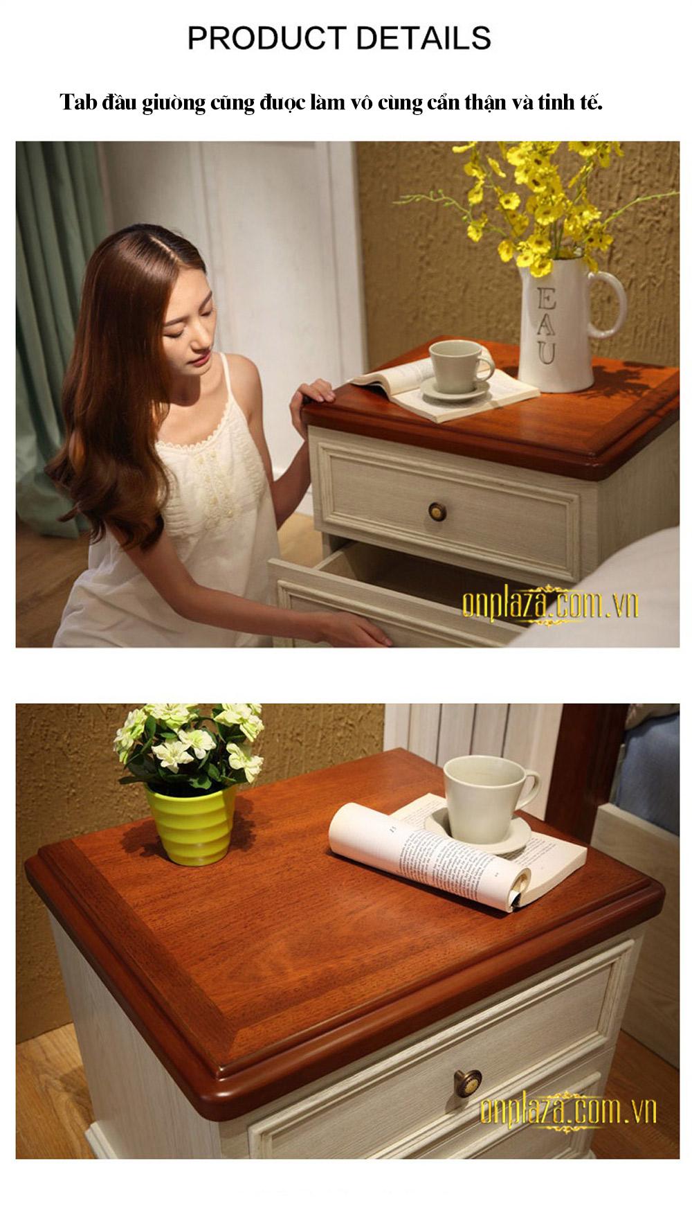Bộ giường ngủ gỗ phong cách Địa Trung Hải (dát truyền thống) G158