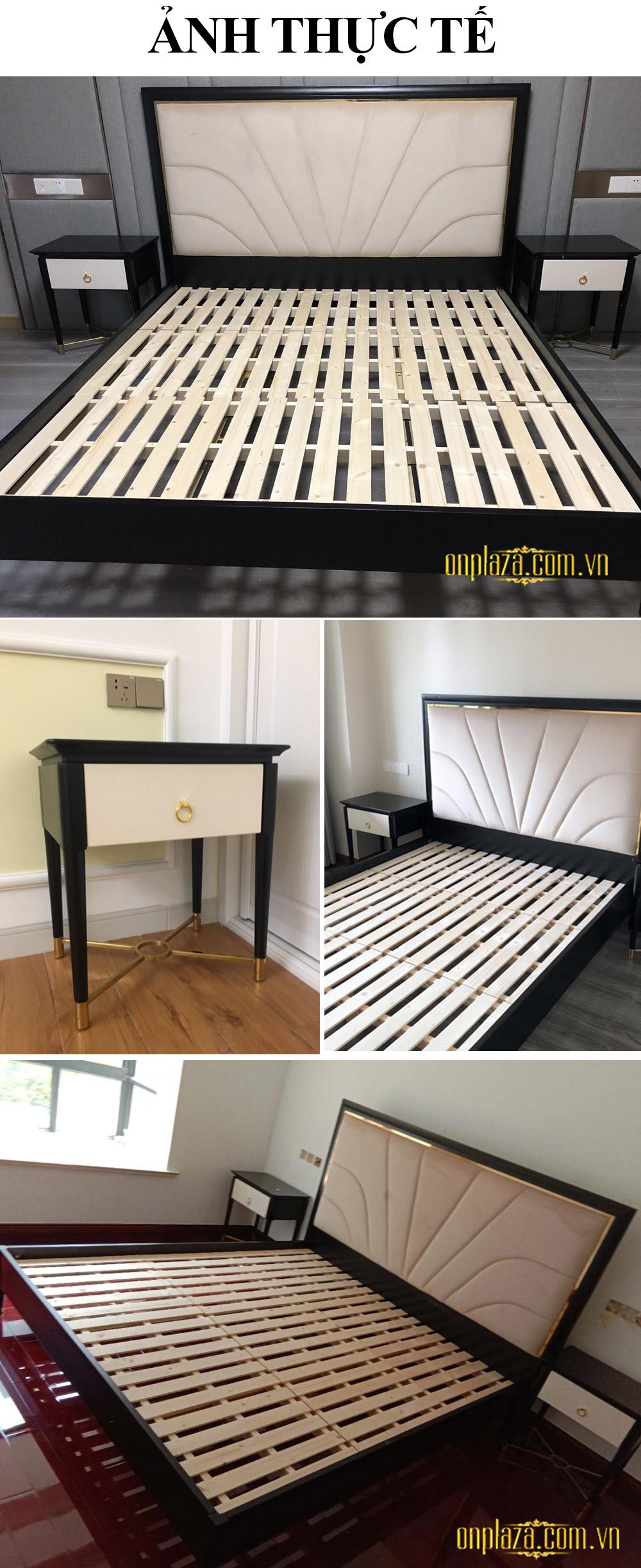 Bộ giường gỗ tự nhiên phối nhung sang trọng phong cách Mỹ hiện đại G159