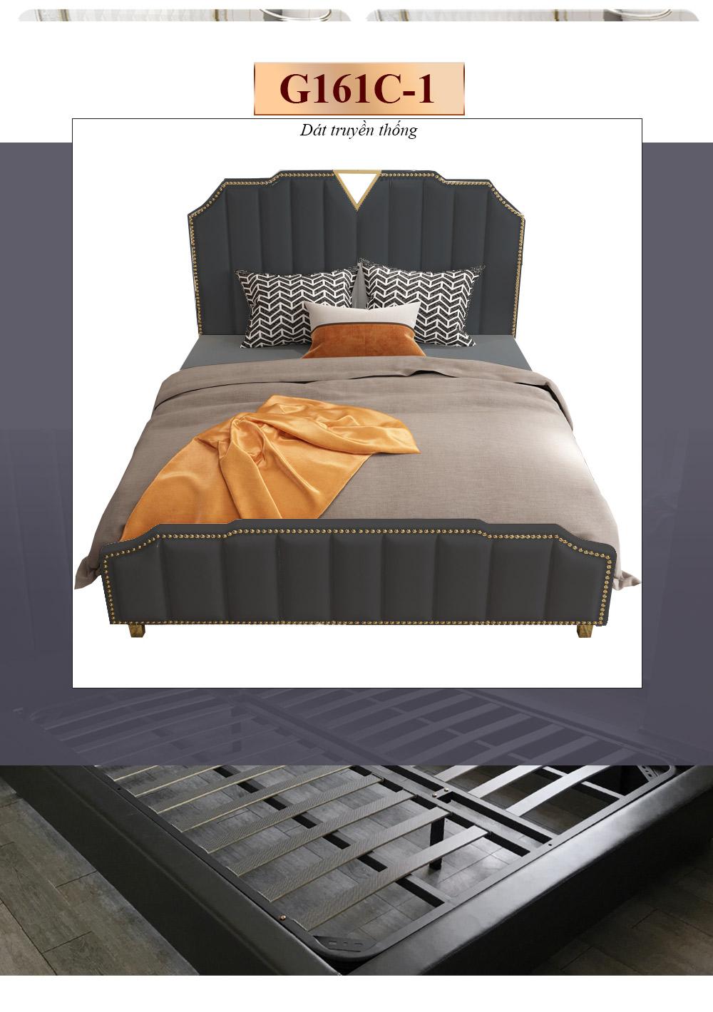 Bộ giường ngủ gỗ tự nhiên bọc da phối kim loại tinh tế phong cách sang trọng G161