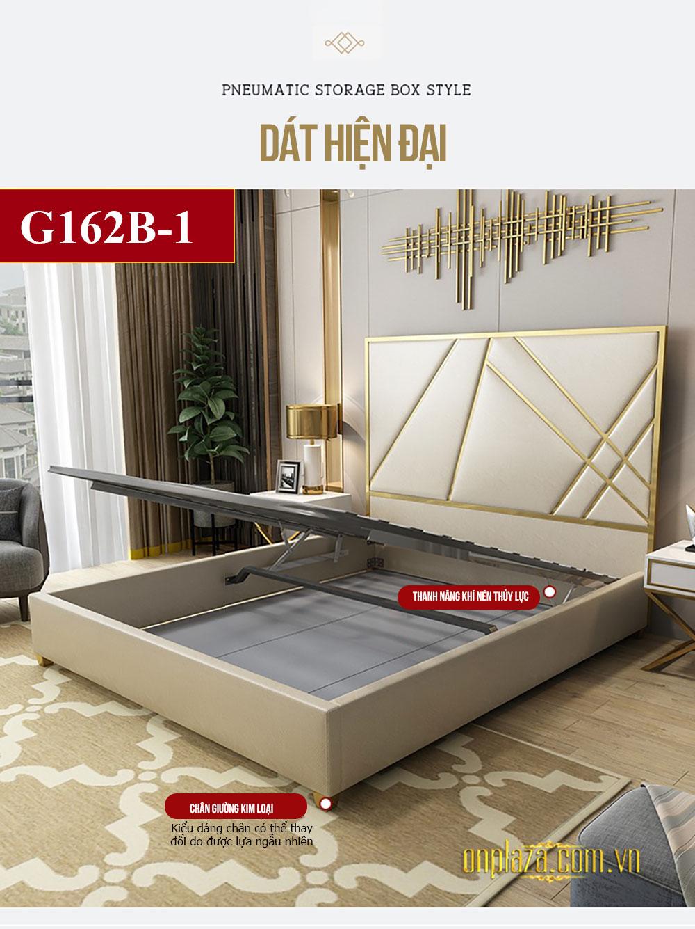 Bộ giường ngủ gỗ tự nhiên bọc da phối kim loại tinh tế phong cách thời trang hiện đại G162