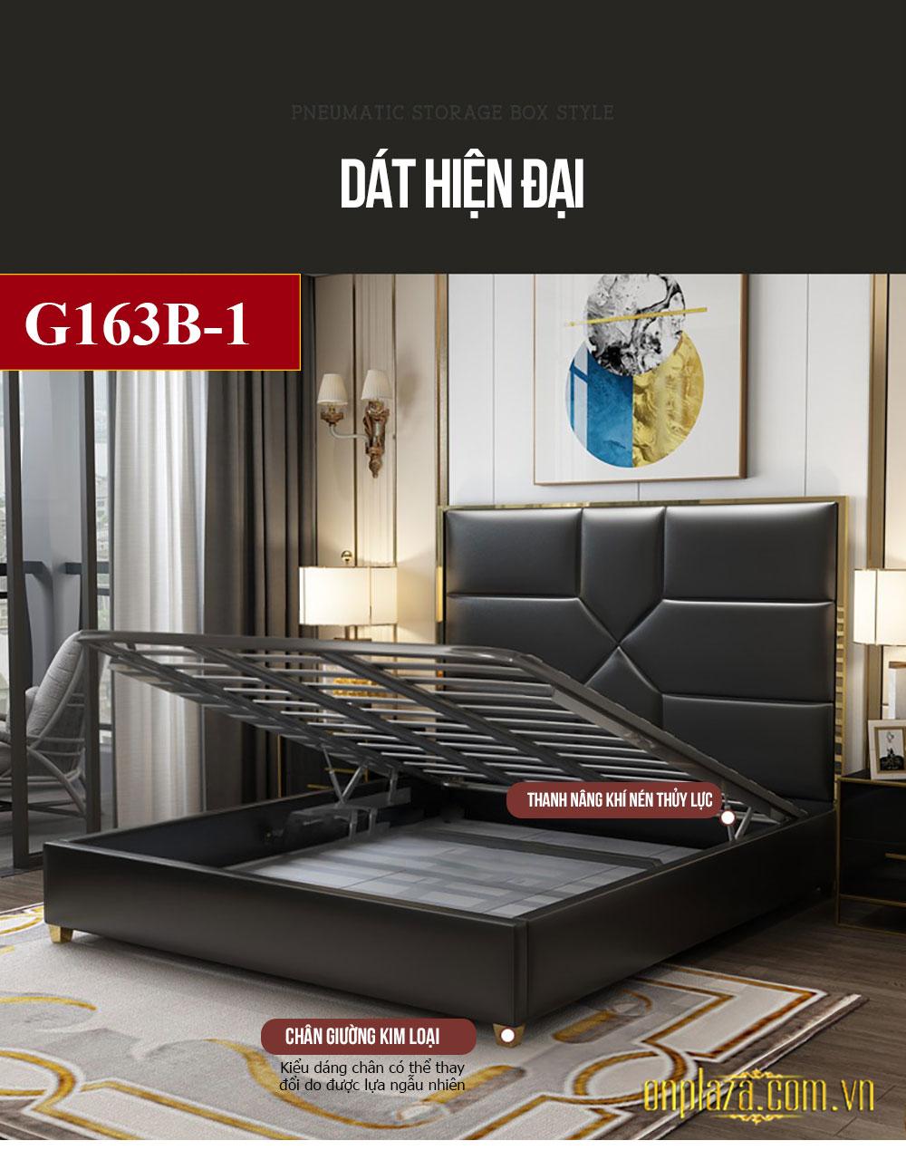 Bộ giường ngủ gỗ tự nhiên bọc da phối kim loại độc đáo và sang trọng G163