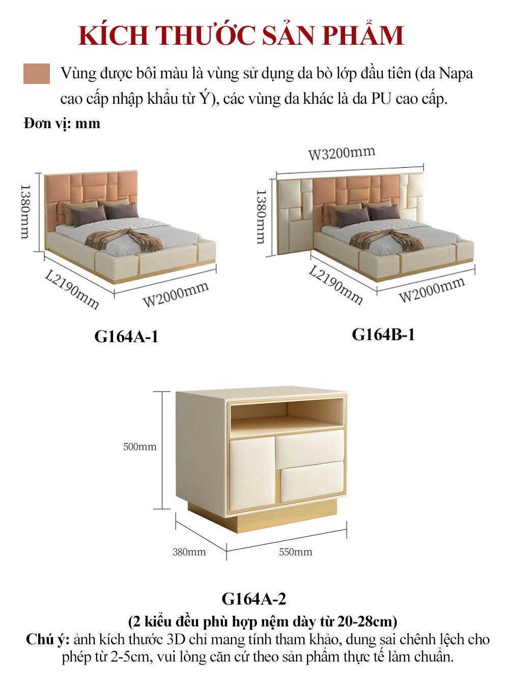 Bộ giường ngủ cao cấp gỗ tự nhiên bọc da G164A