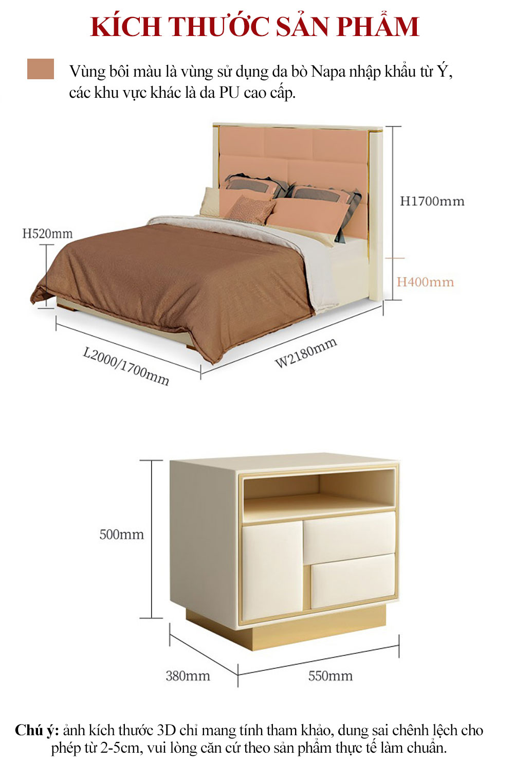 Bộ giường ngủ cao cấp bọc da cho phòng ngủ sang trọng G165