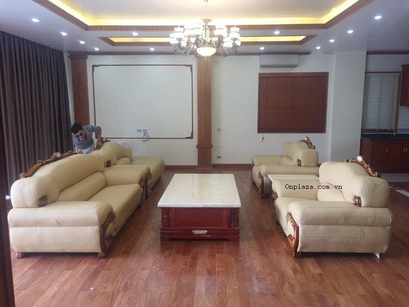 Bộ bàn ghế sofa phòng khách bọc da sang trọng BT10