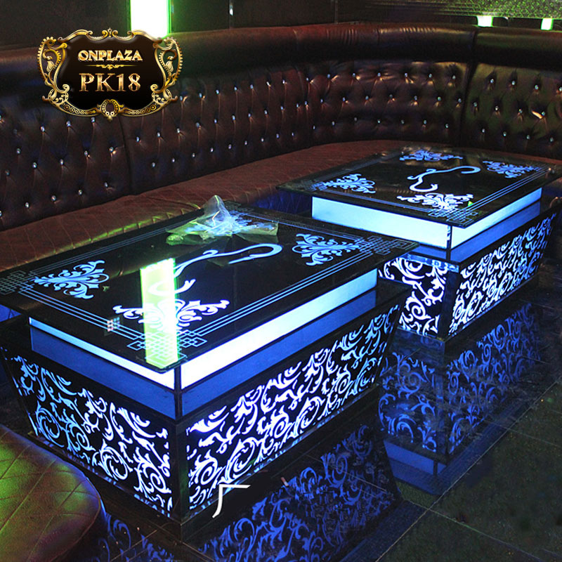 Mẫu bàn phòng hát thiết kế gắn đèn led hiện đại PK18