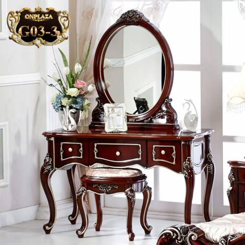 Bàn ghế trang điểm chạm khắc phong cách Châu Âu G03-3