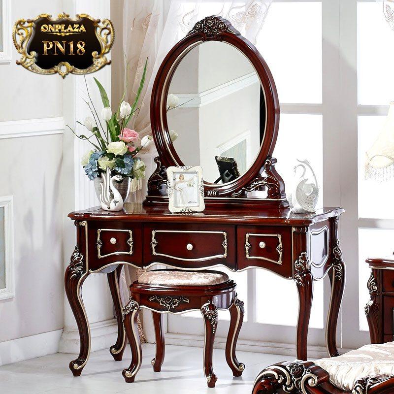 Bàn ghế trang điểm chạm khắc phong cách Châu Âu PN18