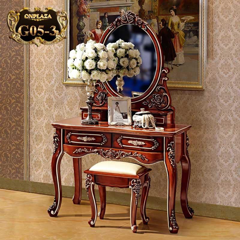 Bàn ghế trang điểm phong cách Hoàng gia sang trọng G05-3