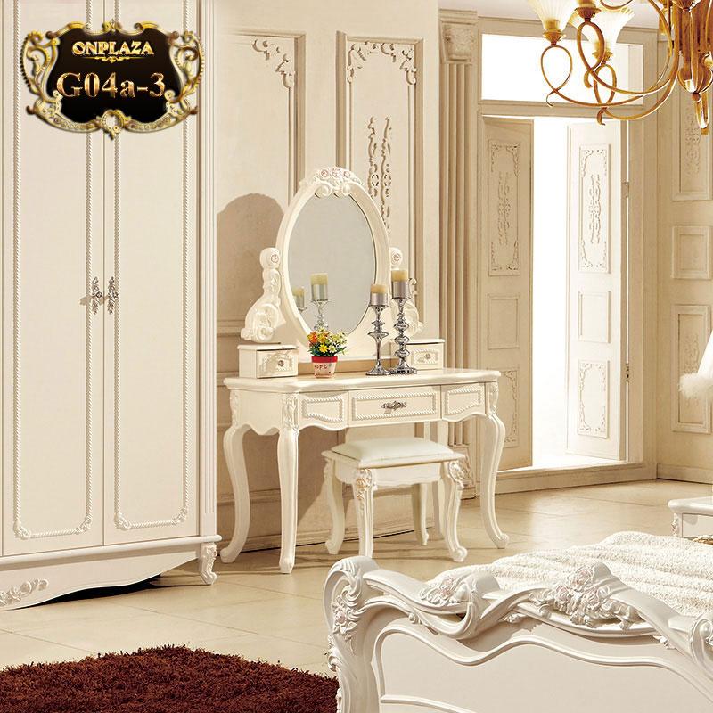 Bộ bàn phấn đẹp, bộ bàn ghế trang điểm phong cách tân cổ điển G04a-3