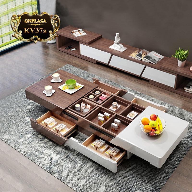 Bàn trà hiện đại đa năng thông minh và kệ tủ tivi bằng gỗ KV37