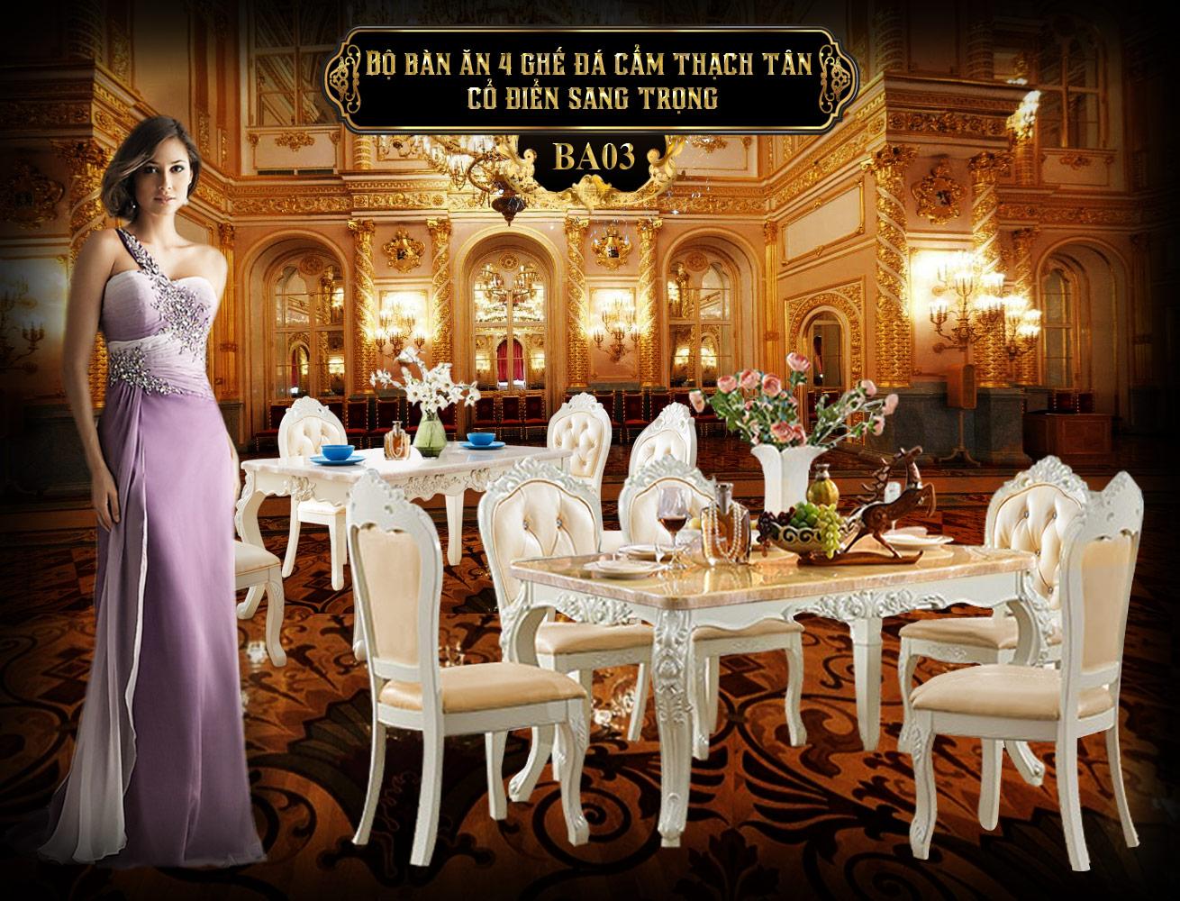 Banner bộ bàn ghế ăn uống sang trọng châu âu BA03